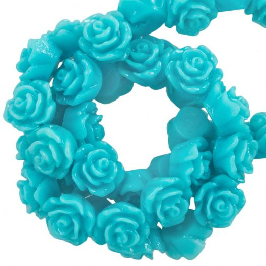 Resin Flower Beads (6 x 4 mm) Light Turquiose (40 pcs)
