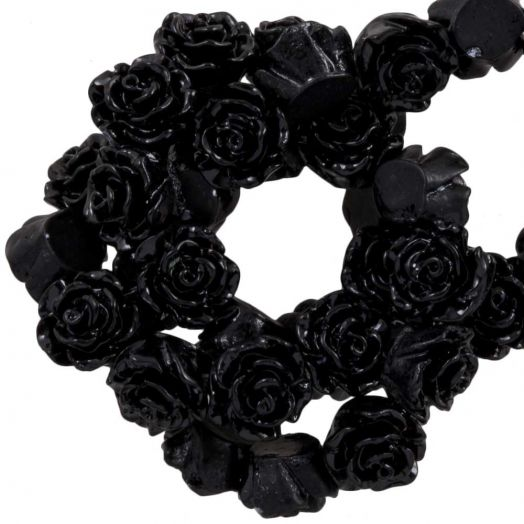 Resin Flower Beads (6 x 4 mm) Black (40 pcs)
