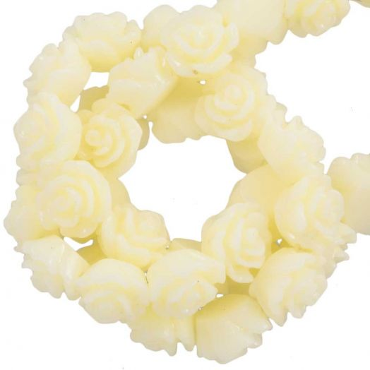 Resin Flower Beads (6 x 4 mm) Soft Yellow (40 pcs)