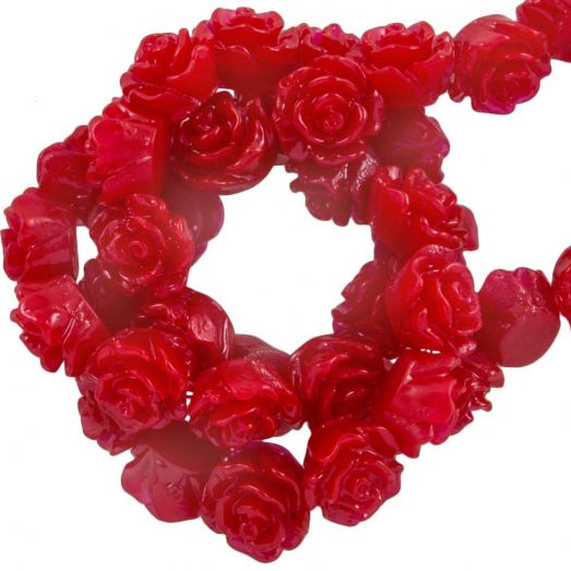 Resin Flower Beads (6 x 4 mm) Red Rose (40 pcs)
