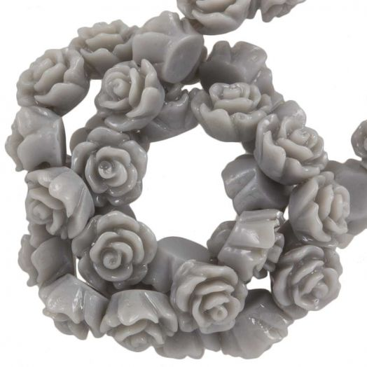 Resin Flower Beads (6 x 4 mm) Warm Grey (40 pcs)