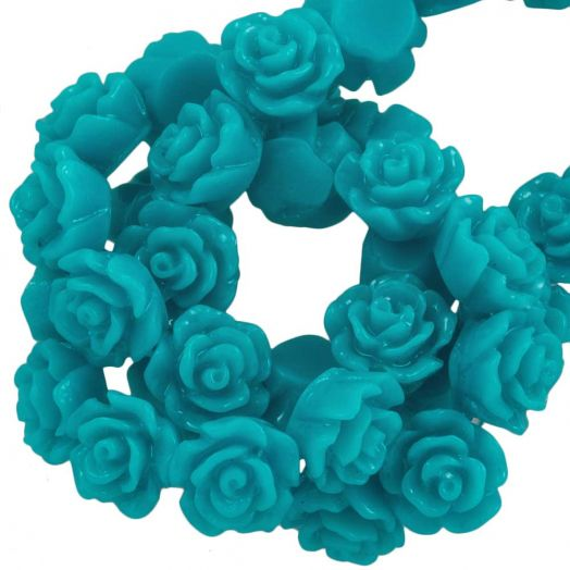 Resin Flower Beads (6 x 4 mm) Turquoise (40 pcs)
