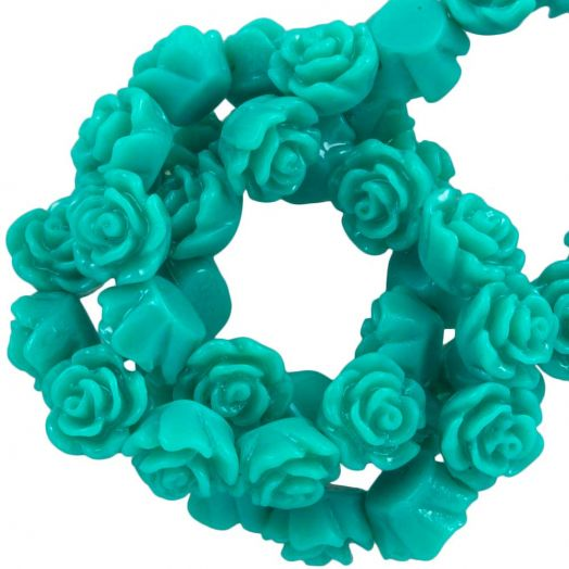 Resin Flower Beads (6 x 4 mm) Teal (40 pcs)
