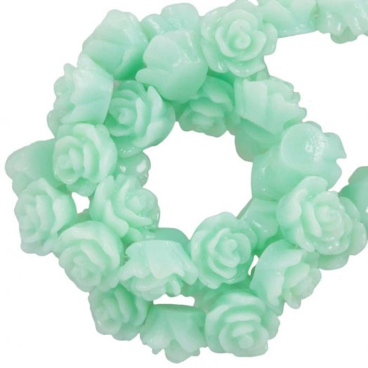 Resin Flower Beads (6 x 4 mm) Mint Green (40 pcs)