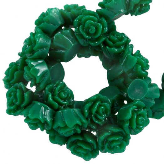 Resin Flower Beads (6 x 4 mm) Green (40 pcs)