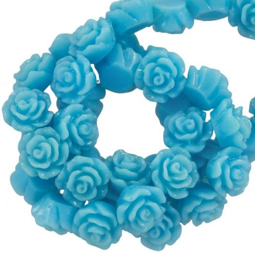Resin Flower Beads (6 x 4 mm) Sky Blue (40 pcs)