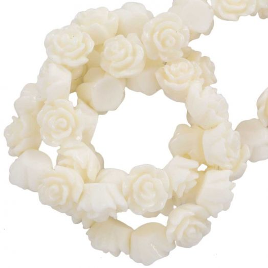 Resin Flower Beads (6 x 4 mm) Creme White (40 pcs)
