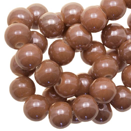 Ceramic Beads (8 mm) Tan Brown (25 pcs)