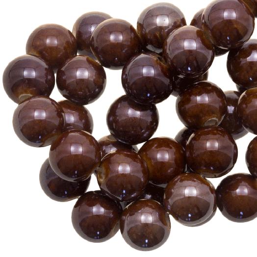 Ceramic Beads (10 mm) Natural Brown (20 pcs)