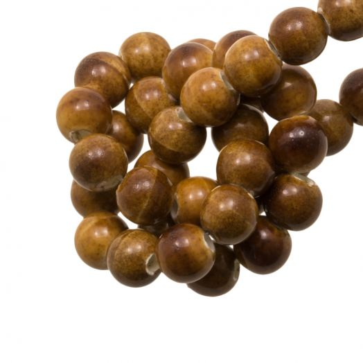Ceramic Beads (6 mm) Marble Brown (15 pcs)
