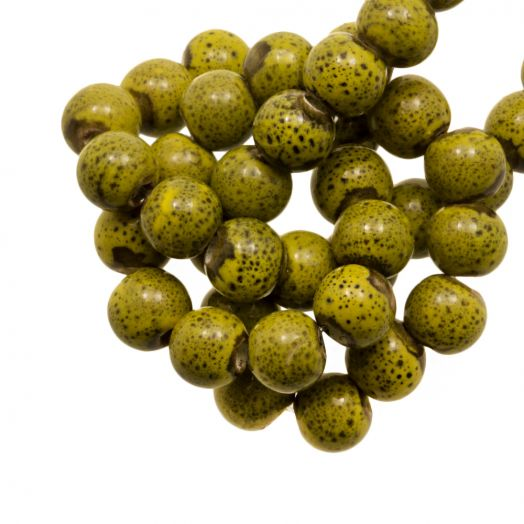 Ceramic Beads (6 mm) Spotted Lime (15 pcs)