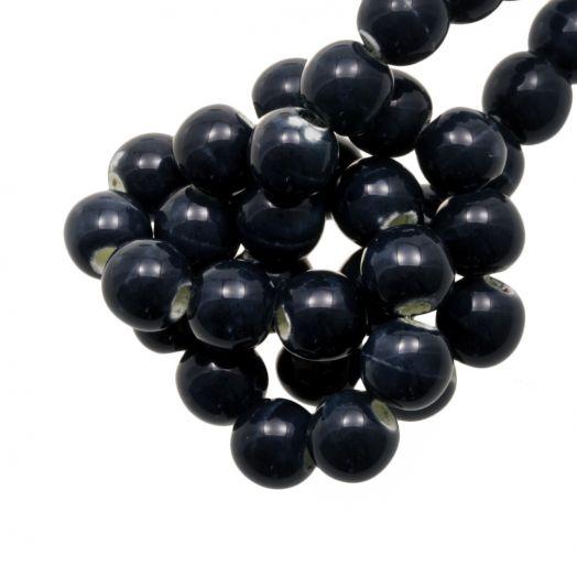 Ceramic Beads (6 mm) Marble Dark Blue (15 pcs)