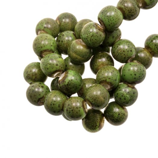 Ceramic Beads (6 mm) Spotted Green (15 pcs)