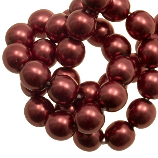 DQ Glass Pearls (8 mm) Red Copper Shine (75 pcs)