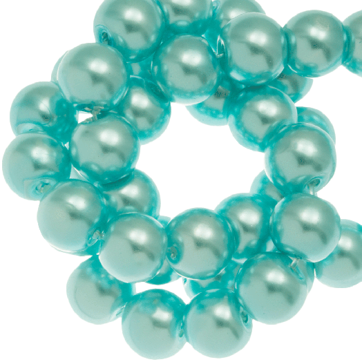 Glass Pearls (8 mm) Aqua Blue (100 pcs)