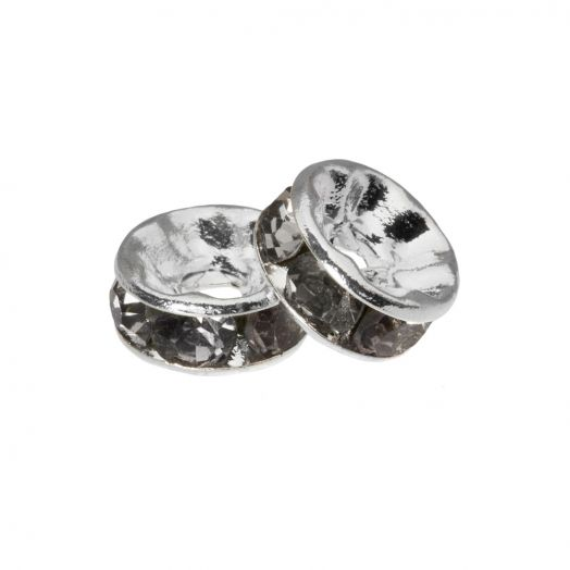 Rhinestone Spacers (4 x 2 mm) Grey (10 pcs)