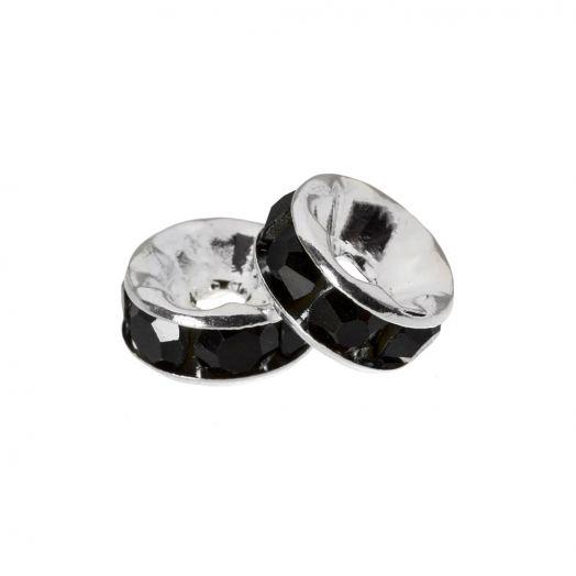 Rhinestone Spacers (4 x 2 mm) Black (10 pcs)