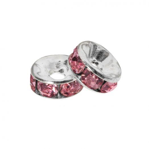 Rhinestone Spacers (4 x 2 mm) Pink (10 pcs)