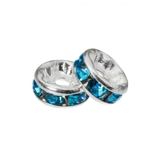 Rhinestone Spacers (4 x 2 mm) Blue (10 pcs)
