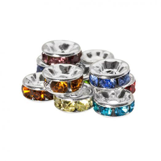 Rhinestone Spacers (4 x 2 mm) Mix Color (10 pcs)