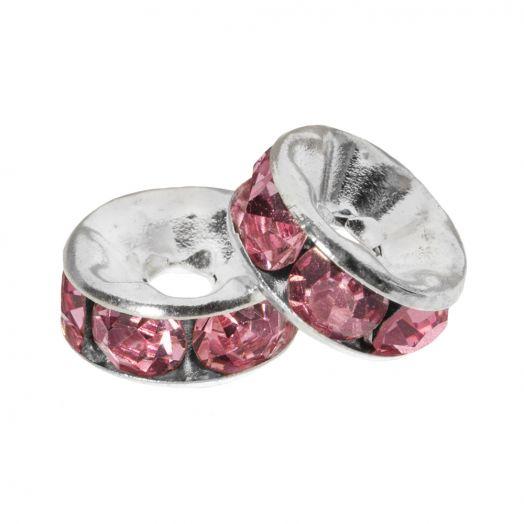 Rhinestone Spacers (6 x 3 mm) Pink (10 pcs)