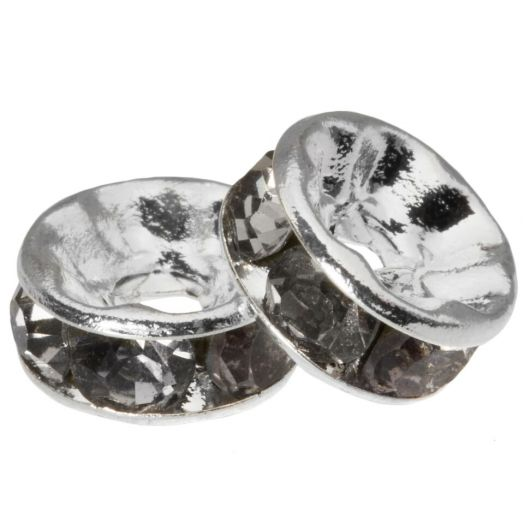Rhinestone Spacers (8 x 4 mm) Grey (10 pcs)
