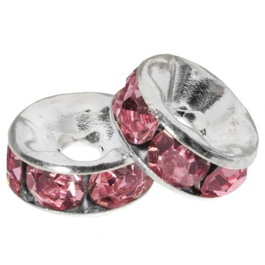 Rhinestone Spacers (8 x 4 mm) Pink (10 pcs)