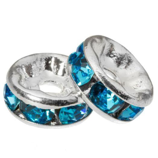 Rhinestone Spacers (8 x 4 mm) Blue (10 pcs)
