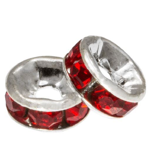 Rhinestone Spacers (6 x 3 mm) Red (10 pcs)