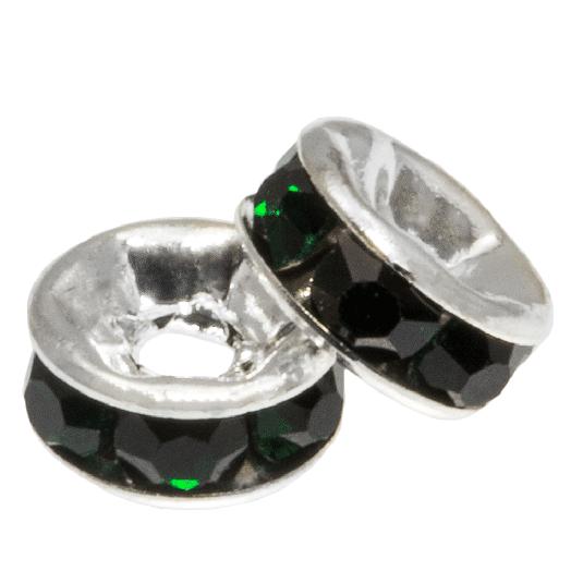 Rhinestone Spacers (6 x 3 mm) Dark Green (10 pcs)