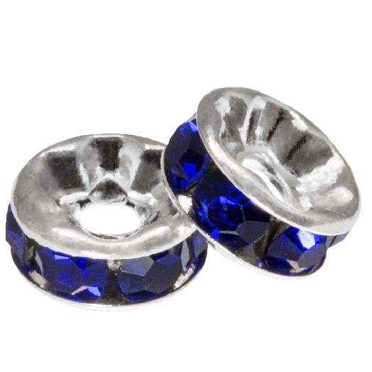 Rhinestone Spacers (4 x 2 mm) Dark Blue (10 pcs)
