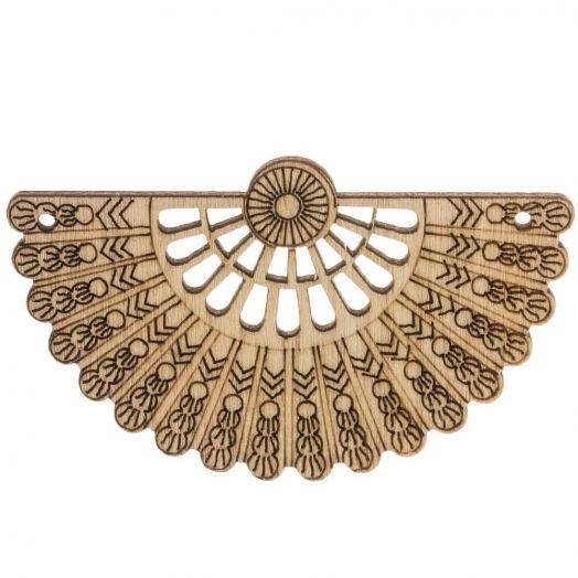 Wooden Pendants Fan (66 x 40 mm) 10 pcs