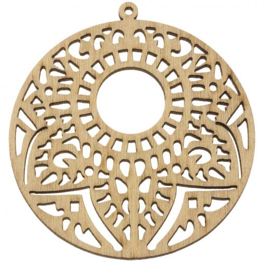 Wooden Pendants Round (64 x 60 mm) 10 pcs