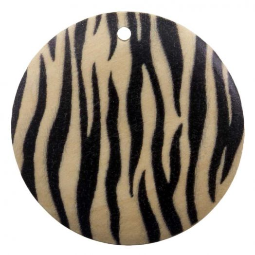Wooden Pendants Zebra Round (30 mm) 10 pcs