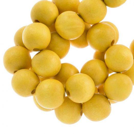 Wooden Beads Intense Look (16 mm) Yellow (25 pcs)