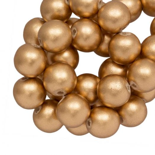 Wooden Beads Metallic Look (16 mm) Gold (25 pcs)