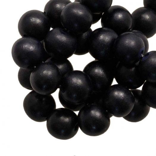 Wooden Beads Intense Look (16 mm) Pitch Black (25 pcs)