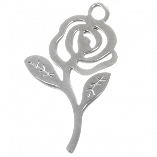 Stainless Steel Charm Rose (21 x 12 mm) Antique Silver (4 pcs)