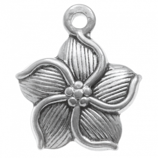 Stainless Steel Charm Flower (20 x 11 mm) Antique Silver (4 pcs)