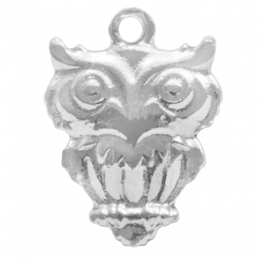 Stainless Steel Charm Owl (15 x 11 mm) Antique Silver (4 pcs)