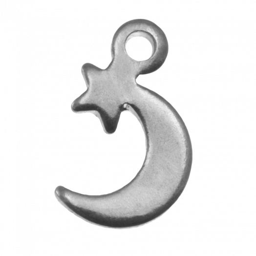 Stainless Steel Charm Star & Moon (11 x 7 mm) Antique Silver (25 pcs)