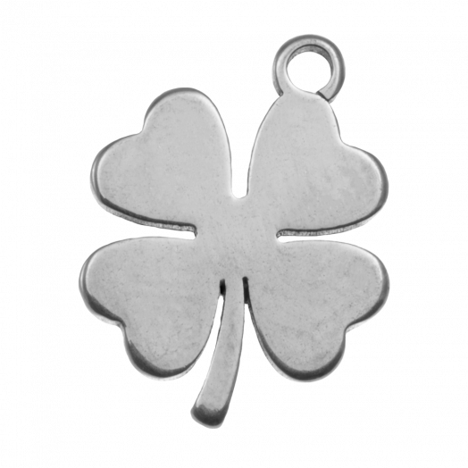 Stainless Steel Charm Clover (14 x 11 mm) Antique Silver (10 pcs)