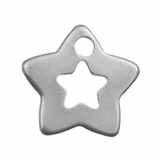 Stainless Steel Charm Star (12 x 11 mm) Antique Silver (20 pcs)