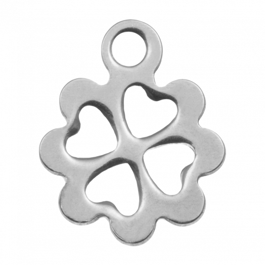 Stainless Steel Charm Clover (13 x 10 mm) Antique Silver (20 pcs)