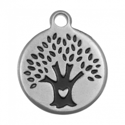 Stainless Steel Charm Tree (14 x 12 mm) Antique Silver (5 pcs)