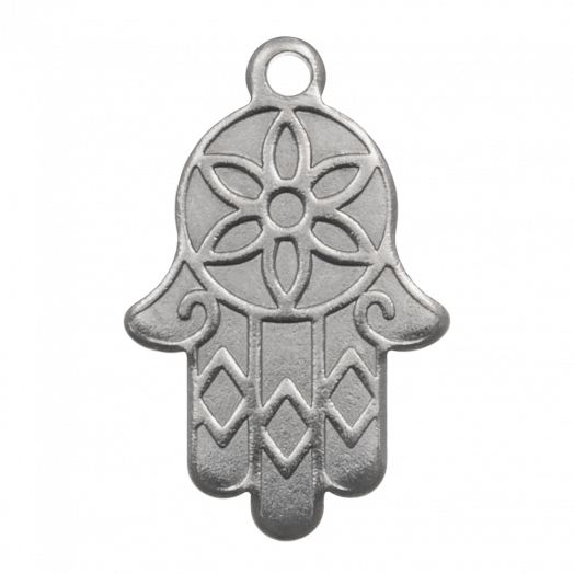 Stainless Steel Charm Hamsa (18 x 12 mm) Antique Silver (5 pcs)