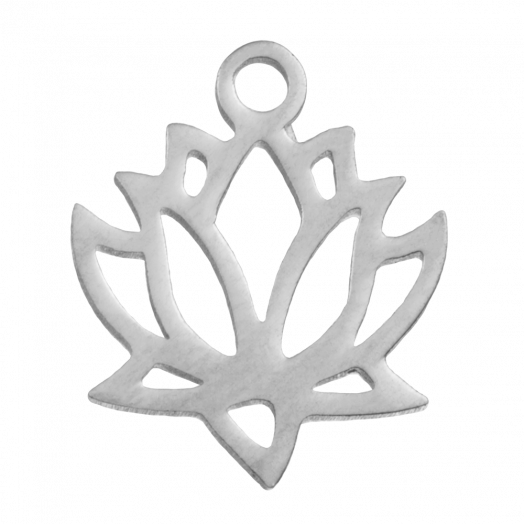 Stainless Steel Charm Lotus (13 x 11 mm) Antique Silver (4 pcs)