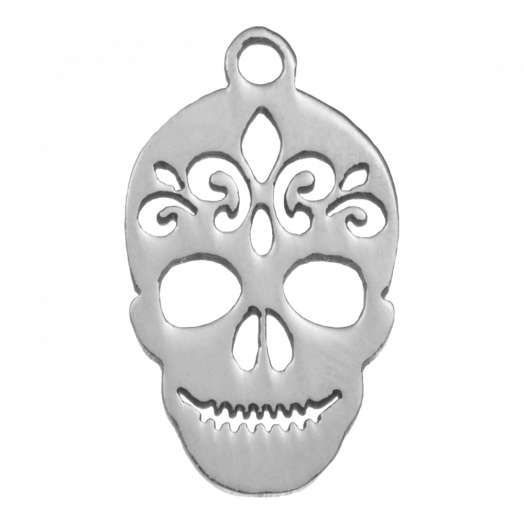 Stainless Steel Charm Skull (18 x 10 mm) Antique Silver (4 pcs)