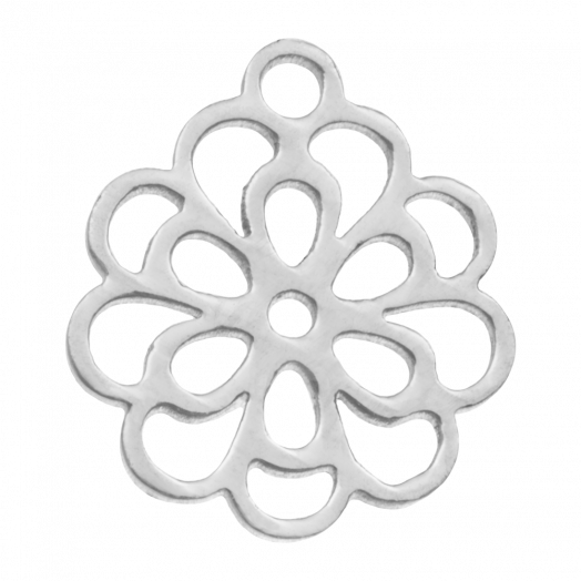 Stainless Steel Charm Flower (14 x 11 mm) Antique Silver (5 pcs)