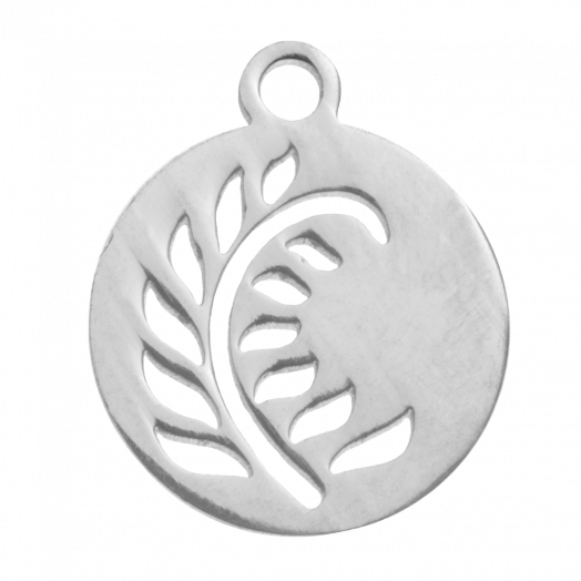 Stainless Steel Charm Leaf (14 x 12 mm) Antique Silver (4 pcs)